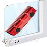 Щетка магнитная для мытья окон с двух сторон Glider- D1031 Новинка Красная губка, фото 2