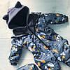 Термо-Комбинезон детский зимний Мордочки на сером, фото 2
