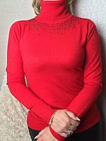 Водолазка женская с отворотом и стразами красная, фото 1