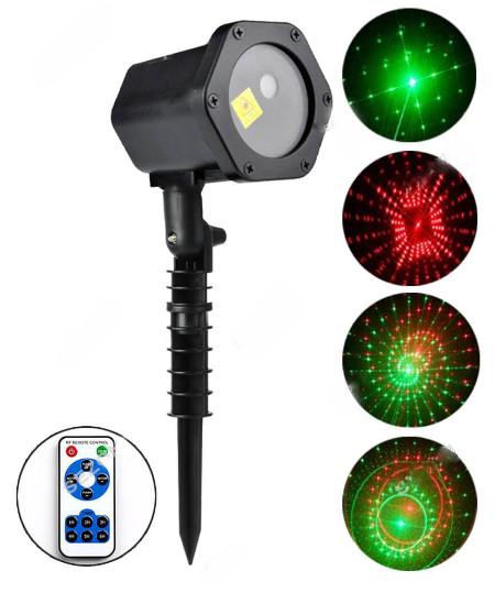 Новогодний светодиодный уличный проектор Сияние 720 + пульт, красно-зеленый