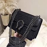 Женская большая сумка на цепочке с подковой на три отдела черная, фото 4