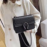 Женская большая сумка на цепочке с подковой на три отдела черная, фото 5