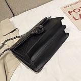Женская большая сумка на цепочке с подковой на три отдела черная, фото 8