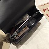 Женская большая сумка на цепочке с подковой на три отдела черная, фото 6