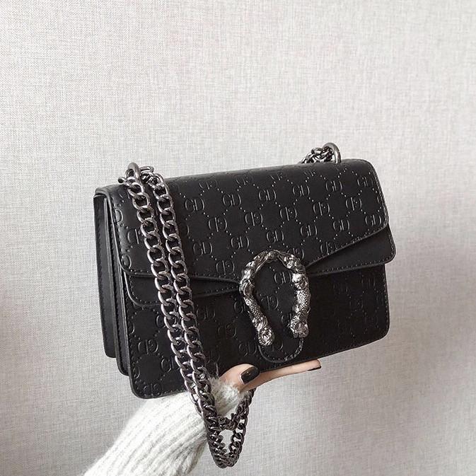 Женская большая сумка на цепочке с подковой на три отдела черная