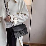 Женская большая сумка на цепочке с подковой на три отдела черная, фото 3