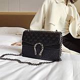 Женская большая сумка на цепочке с подковой на три отдела черная, фото 2