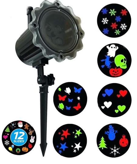 Новогодний светодиодный уличный проектор Фигуры Dl-16, 12 картриджей, 4 цвета