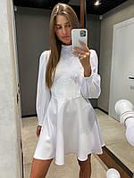 Женское платье мини по фигуре с длинным рукавом фонарик с имитацией корсета в размерах 42-50 белое и черное