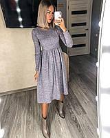 Женское классическое ангоровое платье, длинны миди, 48-50, фото 1