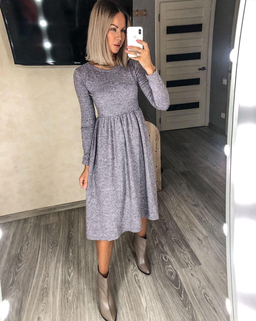 Женское классическое ангоровое платье, длинны миди, 48-50