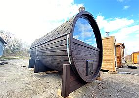 Баня бочка под ключ с панорамным окном 4,0х2,4 м из термобруса от производителя в Украине