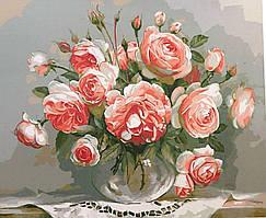 """Картина за номерами PH9291 """"Квіти чайної троянди"""" 40*50см в коробці"""