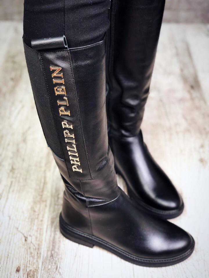 Сапоги Philipp Plein женские еврозима кожаные черные