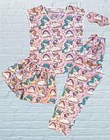 Женская, подростковая, детская пижама (Штаны, Шорты, Футболка + Маска для сна), Единорог на розовом