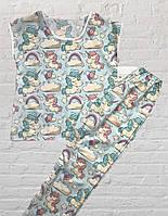 Женская, подростковая, детская пижама (Штаны и Футболка), Единорог на голубом