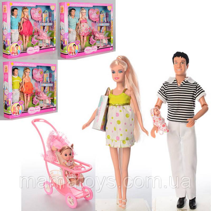 Кукла DEFA 8088 Семья: беременная, Кен - 29,5 см, пупсы 2 шт (4 и 10см) коляска, аксессуары