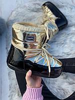 Сапоги луноходы женские зимние 6 пар в ящике золотистого цвета 36-41, фото 2