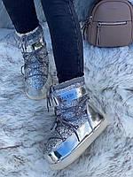 Сапоги луноходы женские зимние 6 пар в ящике серебристого цвета 36-41, фото 3
