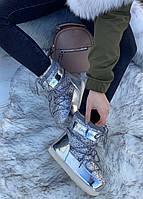 Сапоги луноходы женские зимние 6 пар в ящике серебристого цвета 36-41, фото 4