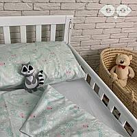 """Комплект детской постельки в кроватку /Комплект дитячої постільки для ліжка """"Пташенята та зайчата"""""""