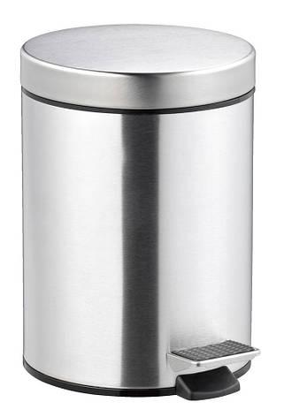 Ведро для ванной комнаты 5 литров с педалью и крышкой (метал) сталь, фото 2