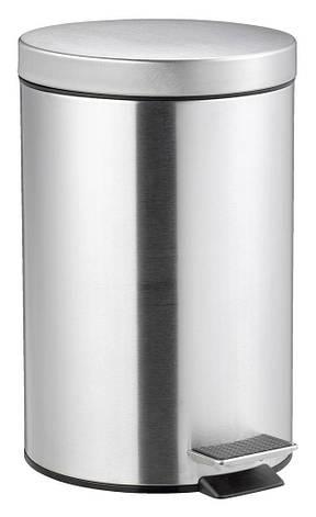 Ведро для ванной комнаты 12 литров с педалью и крышкой (метал) сталь, фото 2