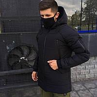 Куртка парка зимняя мужская черная S M L Xl повседневная с капюшоном