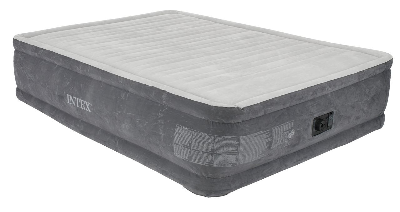 Кровать матрас Intex надувная двухместная велюровая со встроенным насосом