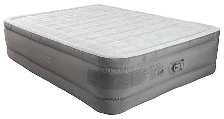 Ліжко матрац надувний двомісна велюрова з вбудованим насосом, фото 2