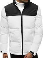 Куртка пуховик мужская зимняя цвет черный белый без капюшона короткая молодежная повседневная теплая