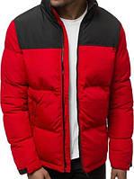 Куртка пуховик мужская зимняя цвет черно красный без капюшона короткая пуховик размер