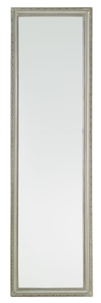 Зеркало настенное длинное с рамкой из дерева 124 см серебро
