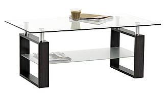 Столик стеклянный кофейный с полкой 60х110х45см, фото 2