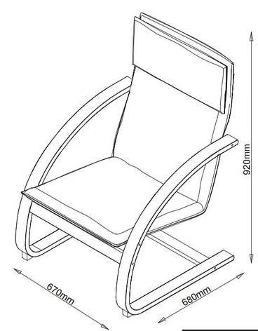Кресло бежевое (лакированный березовый шпон + кож.зам), фото 2