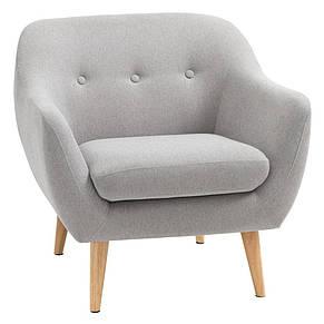 Кресло стильное мягкое с подушкой светло серое, фото 2