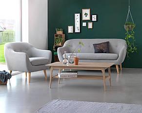 Кресло стильное мягкое с подушкой светло серое, фото 3