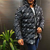 Куртка пуховик черная Adidas мужская зимняя с капюшоном теплая повседневная брендовая размер цвет
