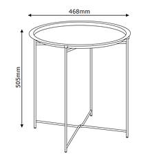 Столик круглый черный из метала диаметр 47см, фото 2
