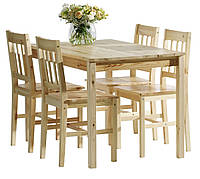 Комплект кухонный мебели сосна (стол + 4 стула) натура