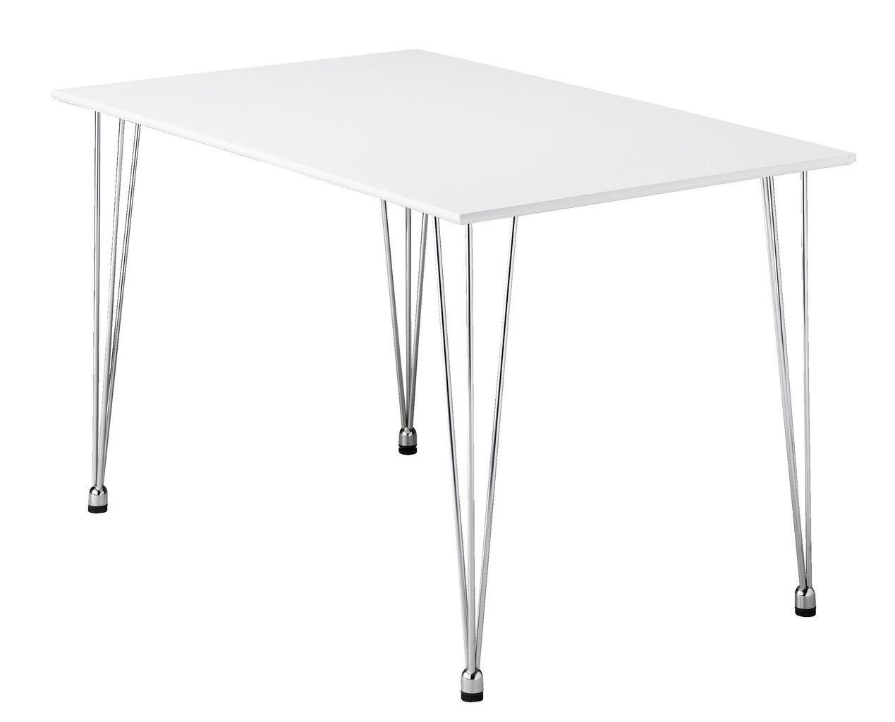 Обеденный стол прямоугольный белый хром, 120см