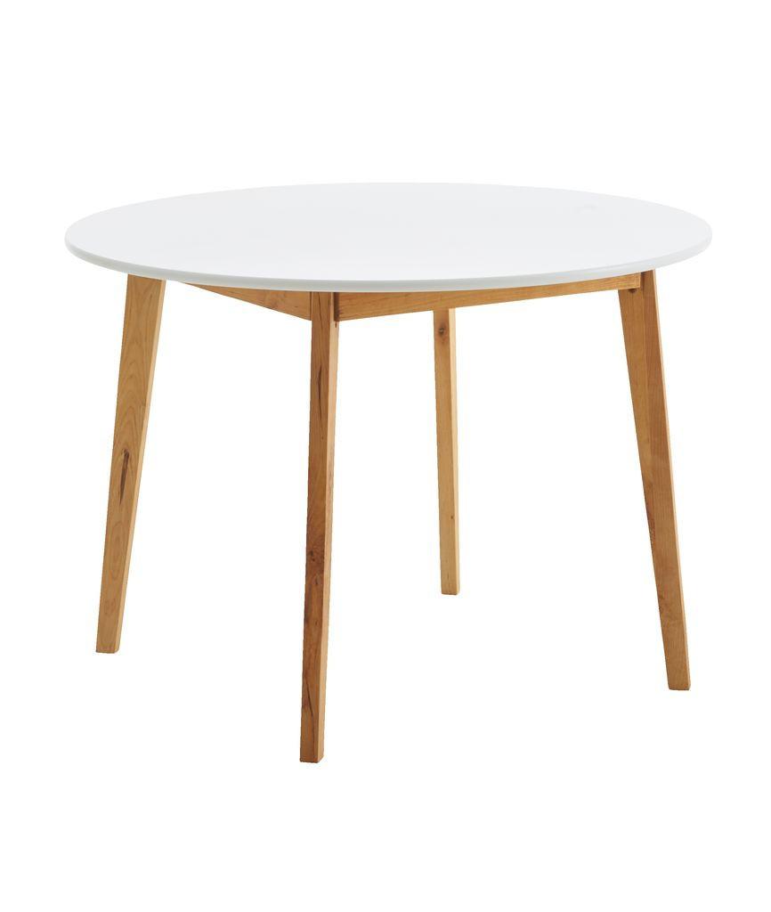 Обеденный стол круглый натура / белый (диаметр 105 см)