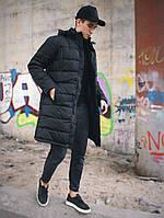 Куртка парка черная мужская зимняя теплая с капюшоном холофайбер