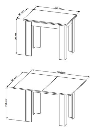Обеденный стол раскладной Стол обеденный 90/120см дуб, фото 2