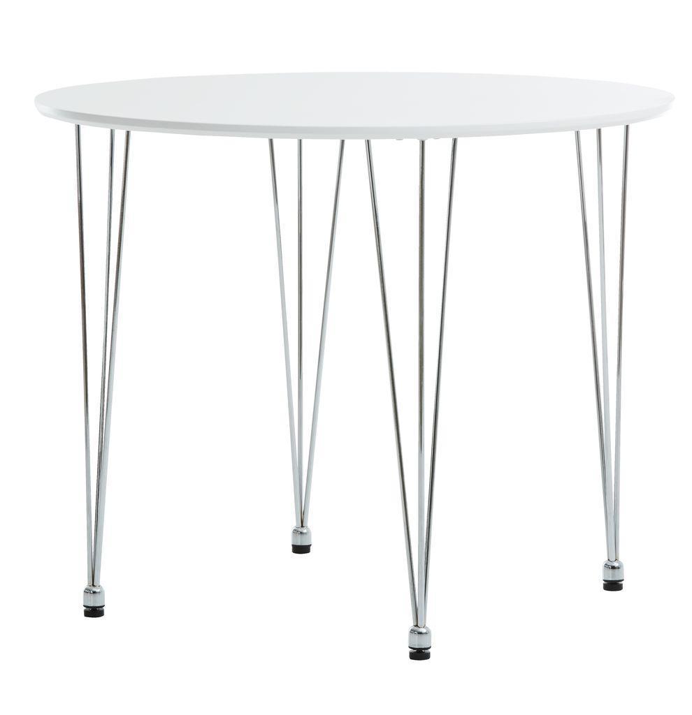 Круглий білий стіл обідній (діаметр 90 см)
