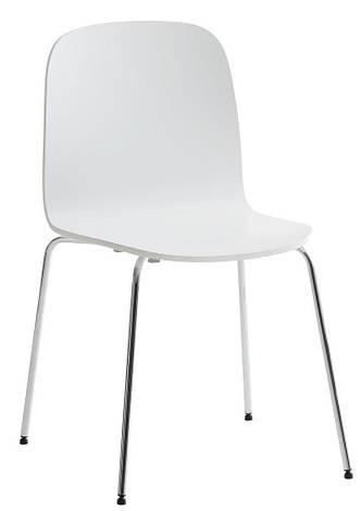 Стілець обідній білий / хром, фото 2