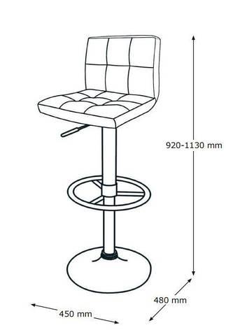 Барный стул черный Искусственная кожа, хромированный металл, фото 2