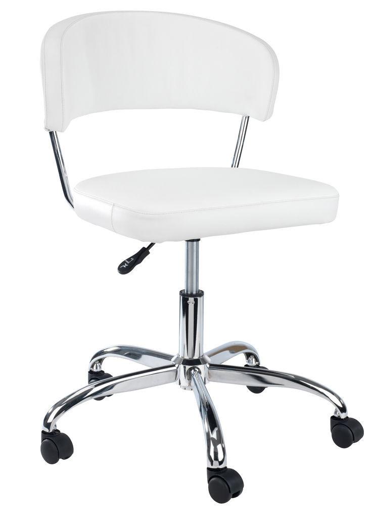 Кресло офисное на колесиках белое кожаное с подъемным механизмом