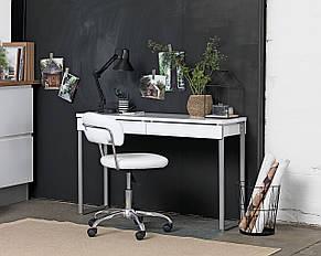 Кресло офисное на колесиках белое кожаное с подъемным механизмом, фото 2
