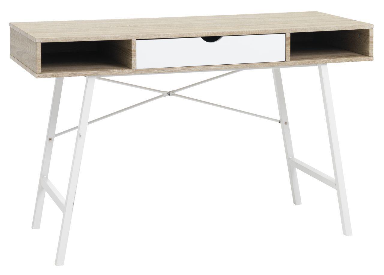Стильный офисный стол с ящиком белый дуб 120 см